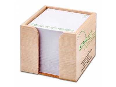 Zettelbox aus Holz ohne Schreibgeräteköcher